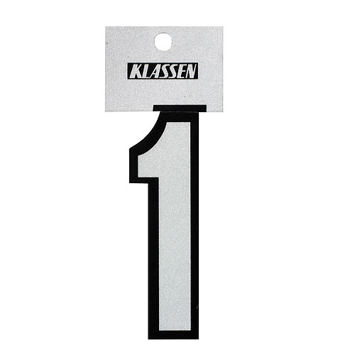 "Reflective Number - Vinyl - #1 - 3"" - Black and Silver"