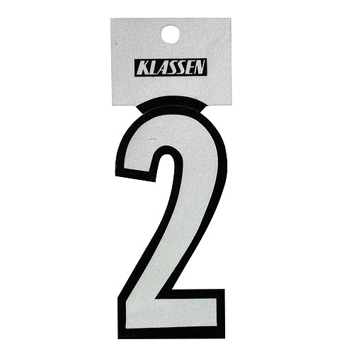 "Reflective Number - Vinyl - #2 - 3"" - Black and Silver"