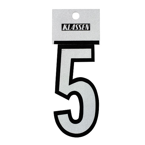 "Reflective Number - Vinyl - #5 - 3"" - Black and Silver"