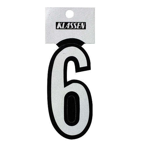 "Reflective Number - Vinyl - #6 - 3"" - Black and Silver"
