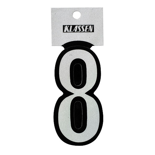 """Reflective Number - Vinyl - #8 - 3"""" - Black and Silver"""