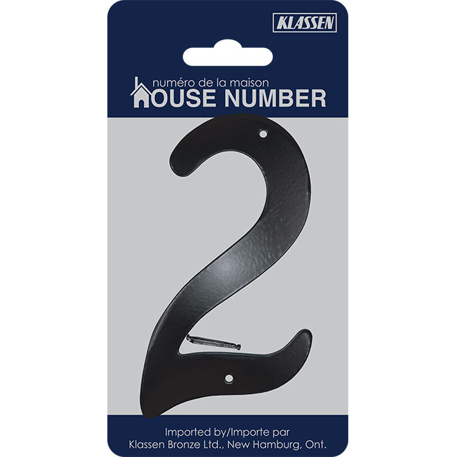 "Nail-On Aluminum Number - 3 1/2"" - Black - No. 2"