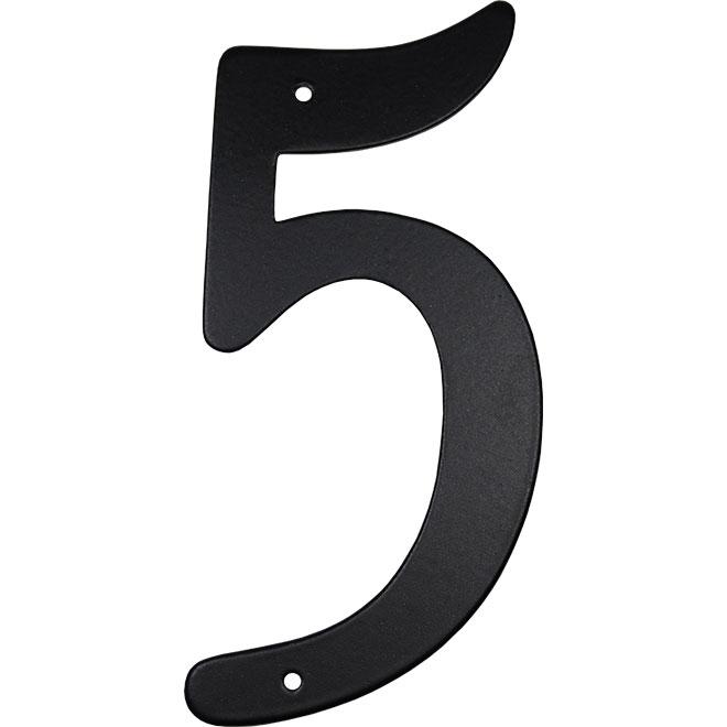 "Nail-On Aluminum Number - 3 1/2"" - Black - No. 5"