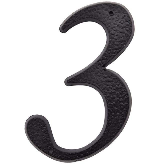 """Chifffre en plastique, #3, 5"""", noir"""
