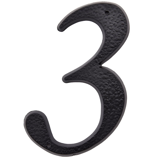 "Plastic Number - #3 - 5"" - Black"