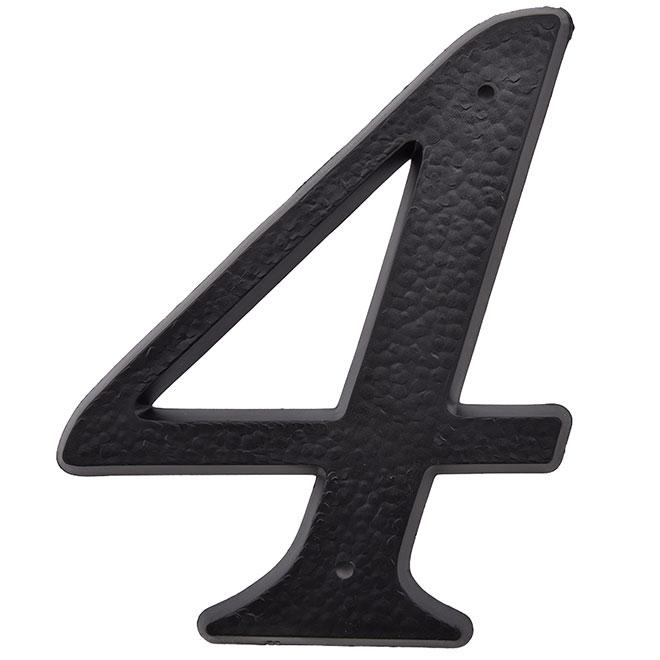 """Chifffre en plastique, #4, 5"""", noir"""