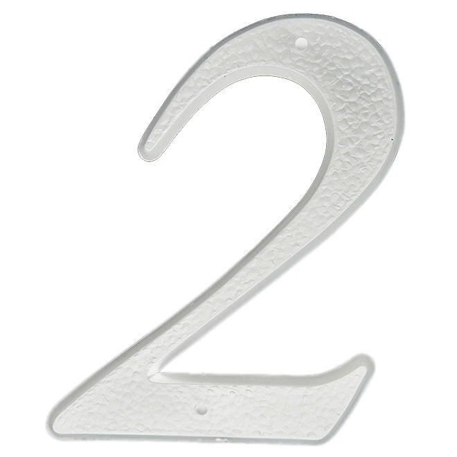 """Nail-On Plastic Number - #2 - 5"""" - White"""