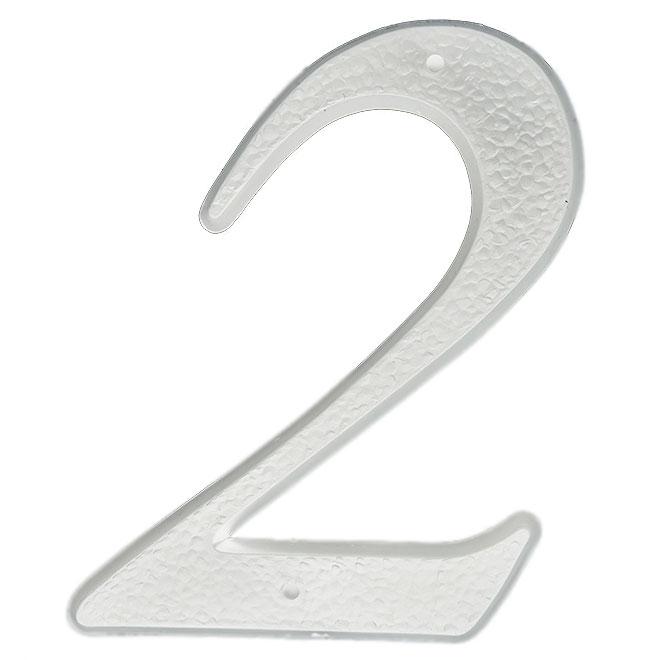 """Chiffre à clouer en plastique, #2, 5"""", blanc"""