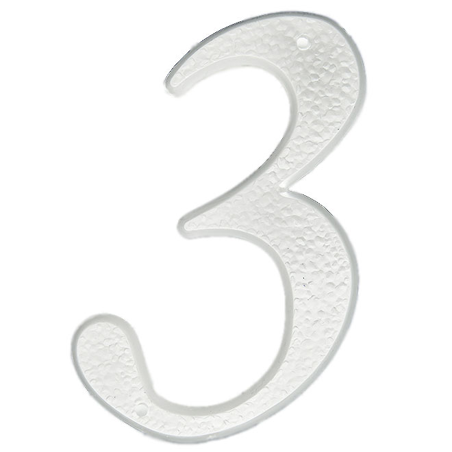 "Nail-On Plastic Number - #3 - 5"" - White"