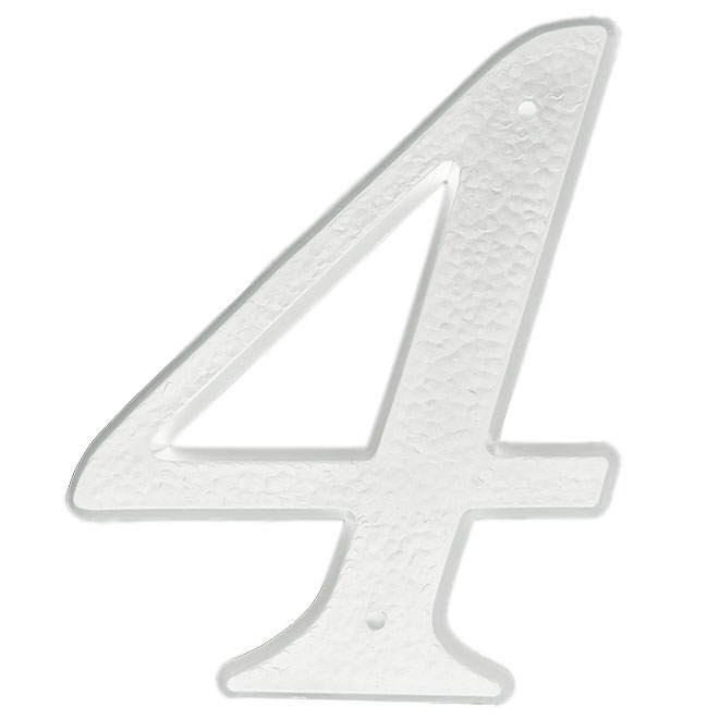 """Nail-On Plastic Number - #4 - 5"""" - White"""