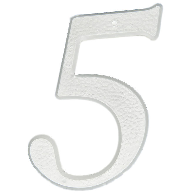 "Nail-On Plastic Number - #5 - 5"" - White"