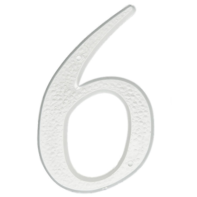 """Nail-On Plastic Number - #6 - 5"""" - White"""