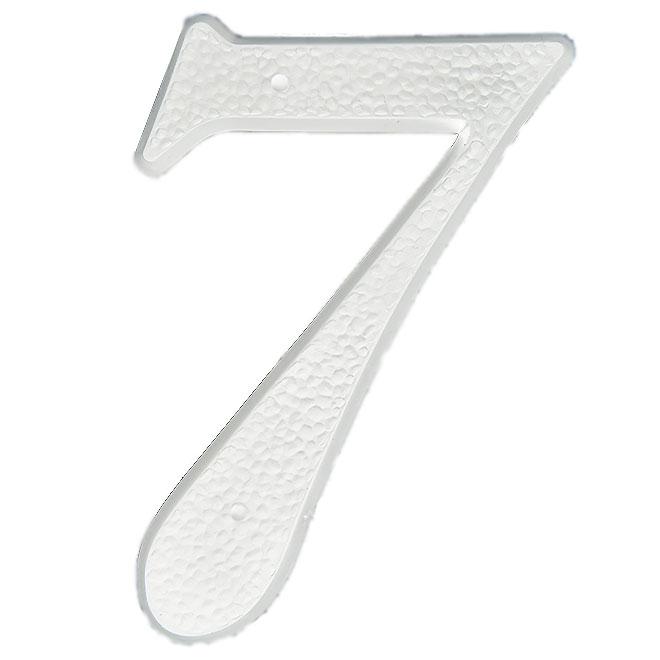 """Chiffre à clouer en plastique, #7, 5"""", blanc"""