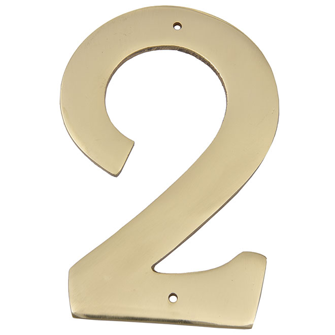 """Nail-On Metal Number - #2 - 3 1/2"""" - Brass"""