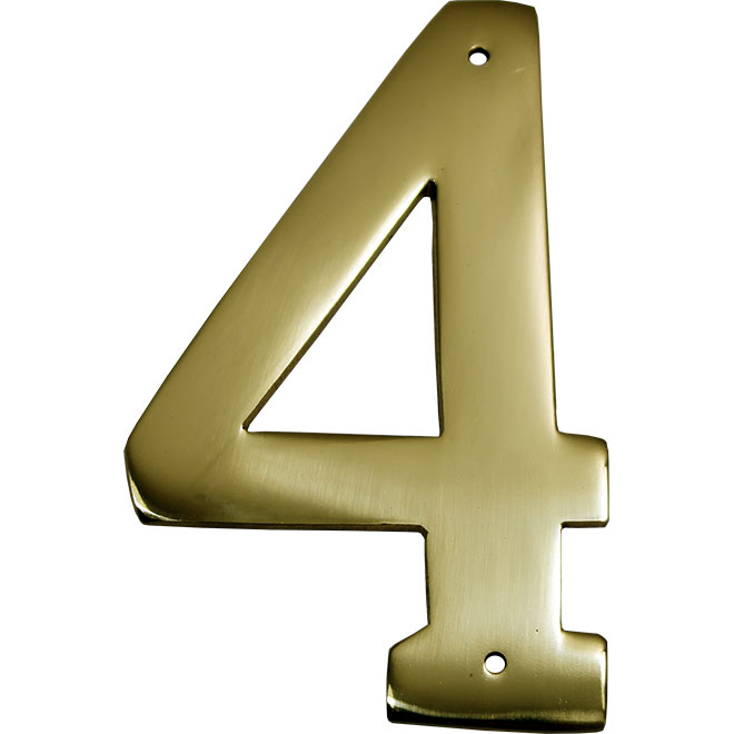 "Nail-On Metal Number - #4 - 3 1/2"" - Brass"
