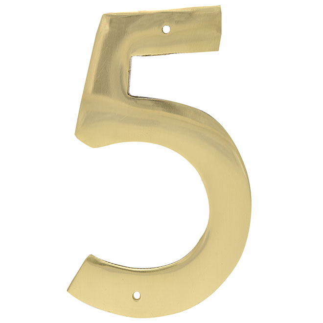 """Nail-On Metal Number - #5 - 3 1/2"""" - Brass"""