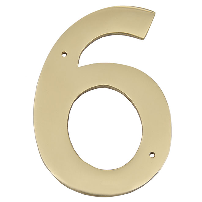 """Nail-On Metal Number - #6 - 3 1/2"""" - Brass"""