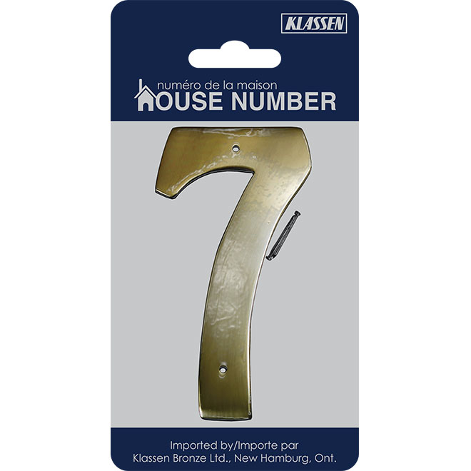 "Nail-On Metal Number - #7 - 3 1/2"" - Brass"