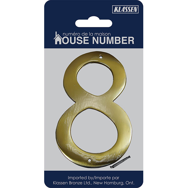 "Nail-On Metal Number - #8 - 3 1/2"" - Brass"