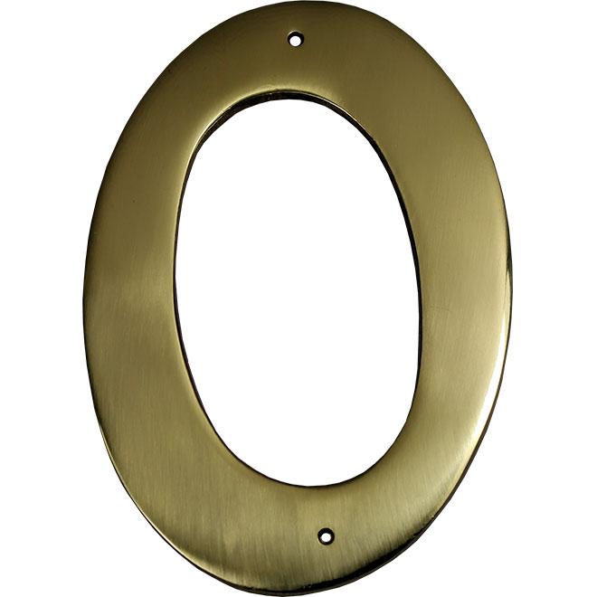 """Chiffre à clouer en métal #0, 3 1/2"""", laiton"""