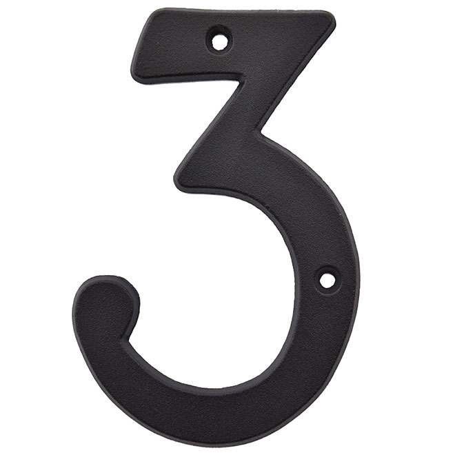 "Nail-On Metal Number - #3 - 3"" - Black"