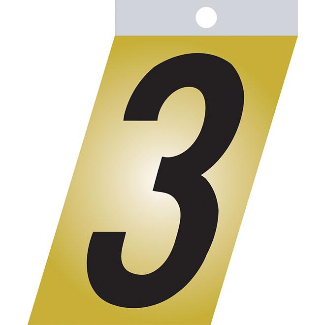 """Chiffre autoadhésif en métal, #3, 2"""", noir"""