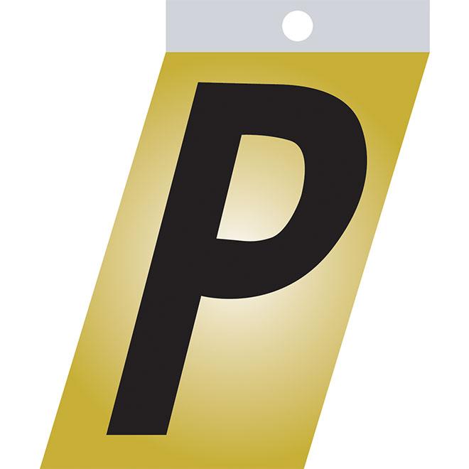 """Lettre autoadhésive en métal, P, 2"""", noir"""