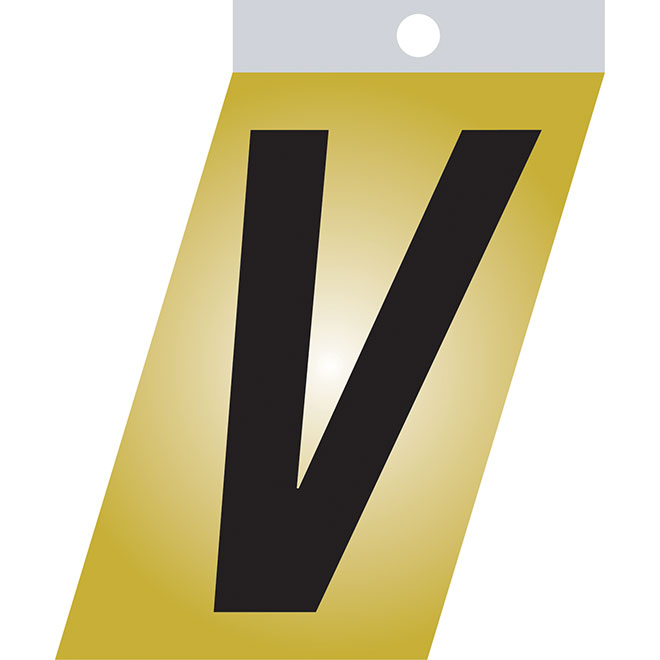 "Self-Adhesive Metal Letter - V - 2"" - Black"