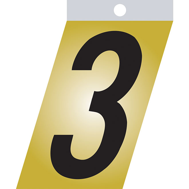 "Self-Adhesive Metal Number - #3 - 3"" - Black"