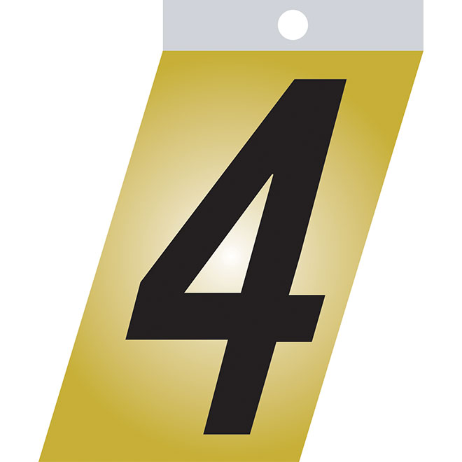 "Self-Adhesive Metal Number - #4 - 3"" - Black"