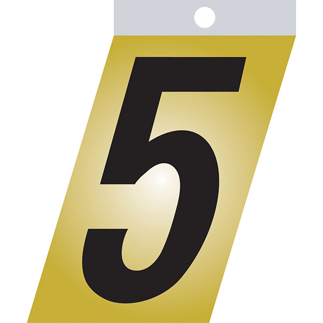 "Self-Adhesive Metal Number - #5 - 3"" - Black"