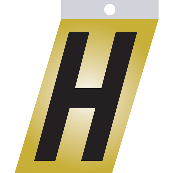 "Self-Adhesive Metal Letter - H - 3"" - Black"