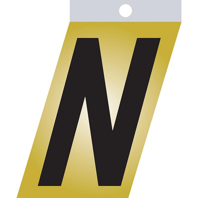 """Self-Adhesive Metal Letter - N - 3"""" - Black"""