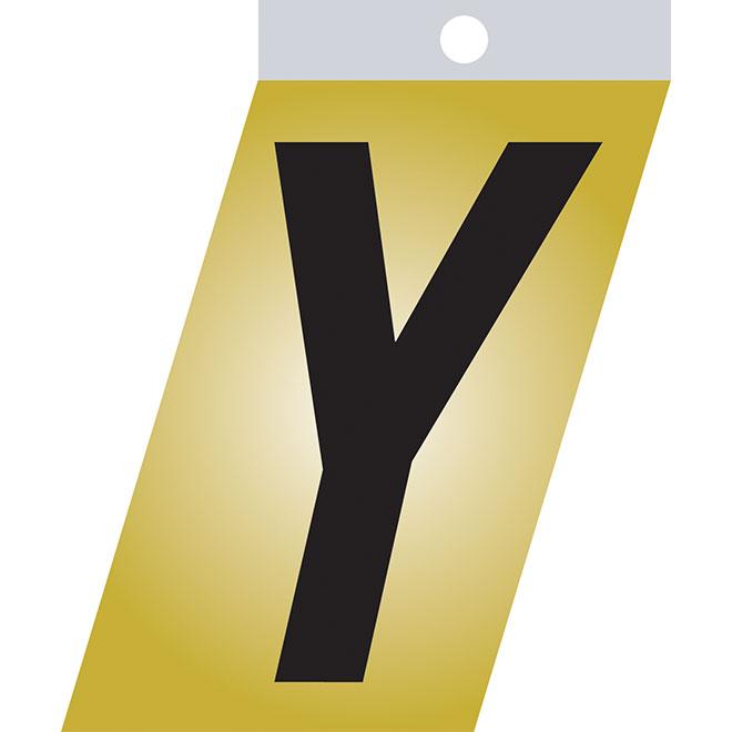 """Lettre autoadhésive en métal, Y, 3"""", noir"""