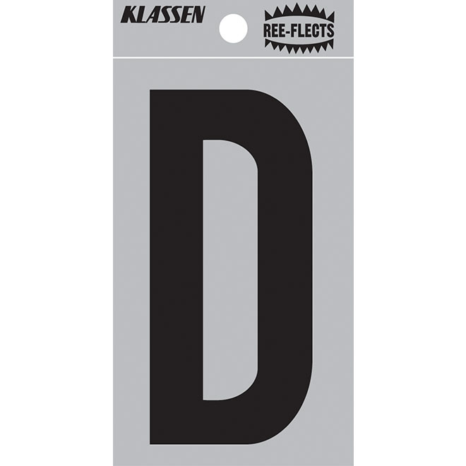 "Reflective Letter - D - 2"" - Black"