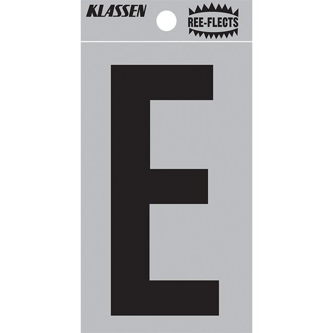 "Reflective Letter - E - 2"" - Black"
