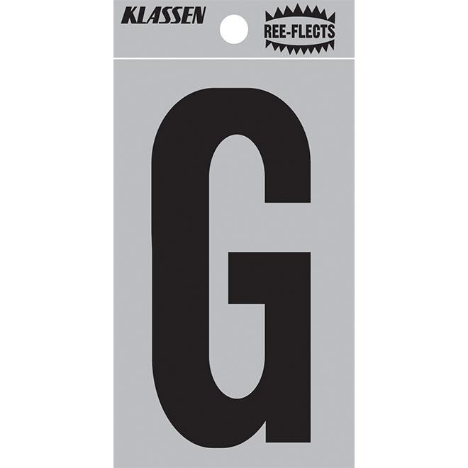 """Lettre réfléchissante, G, 2"""", noir"""