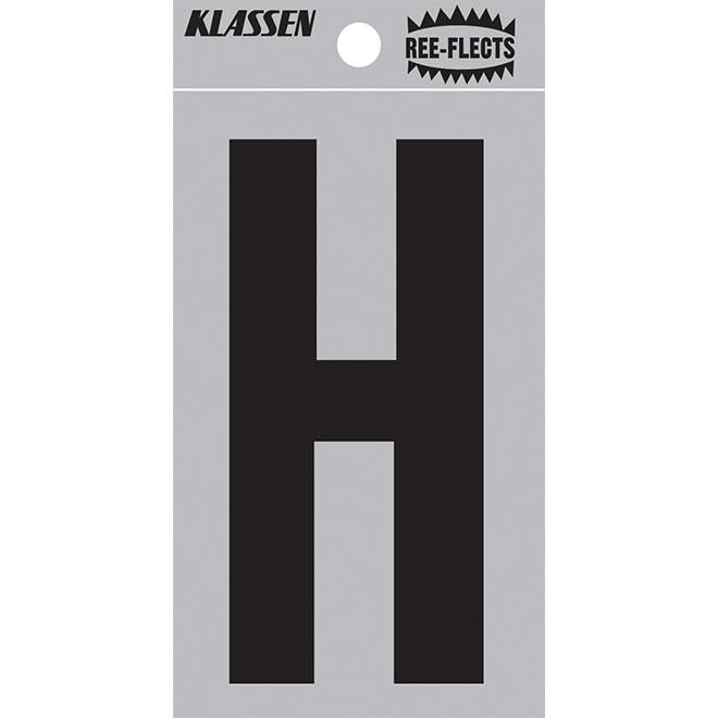 """Reflective Letter - H - 2"""" - Black"""