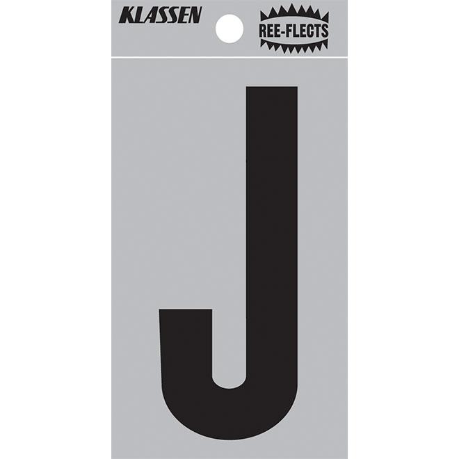 """Reflective Letter - J - 2"""" - Black"""
