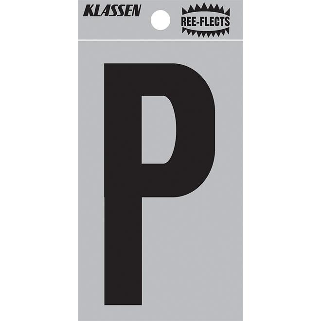 "Reflective Letter - P - 2"" - Black"