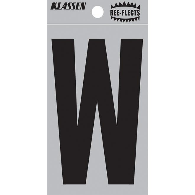 "Reflective Letter - W - 2"" - Black"