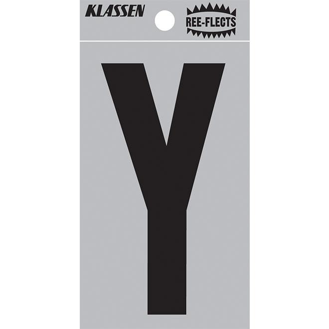 """Reflective Letter - Y - 2"""" - Black"""