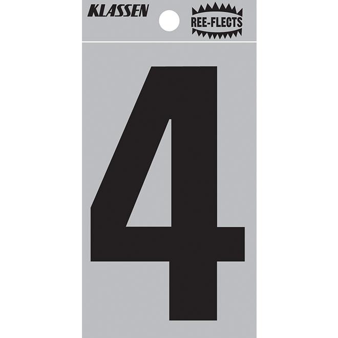 """Reflective Number - #4 - 2"""" - Black"""