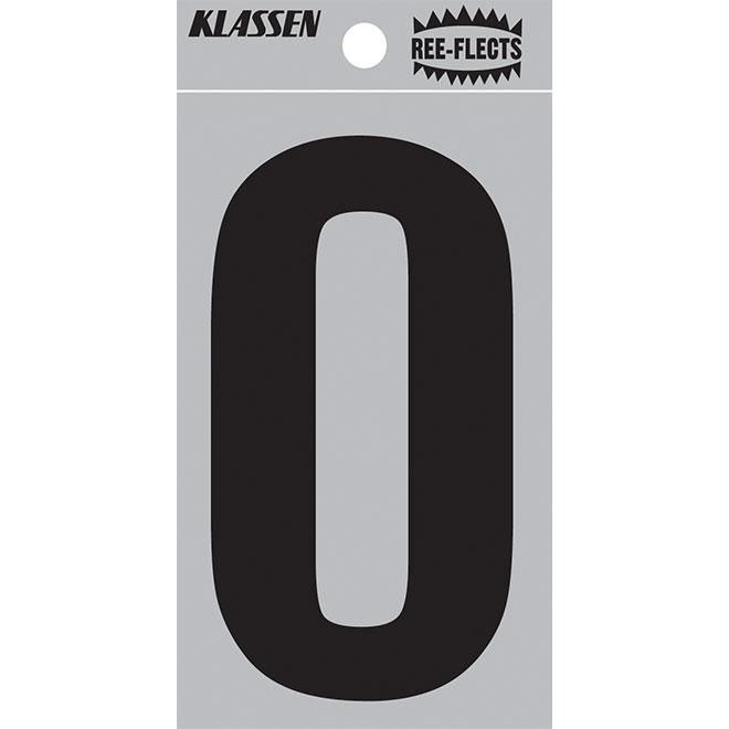 """Reflective Number - #0 - 2"""" - Black"""