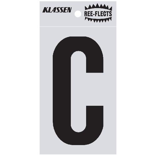 """Reflective Letter - C - 3"""" - Black"""