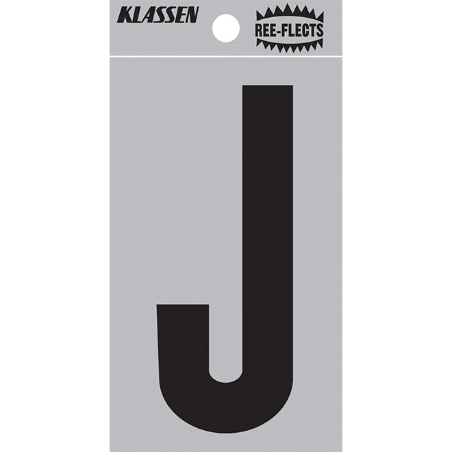 """Reflective Letter - J - 3"""" - Black"""