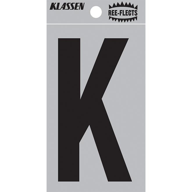 """Reflective Letter - K - 3"""" - Black"""