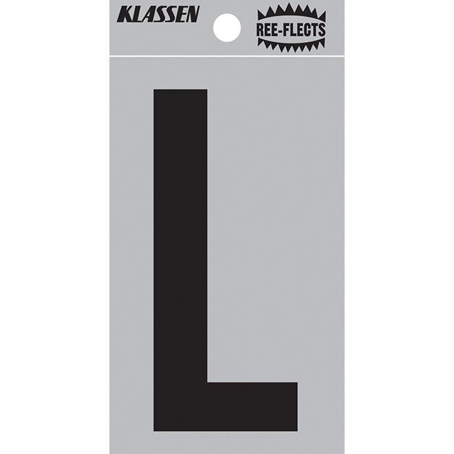 """Reflective Letter - L - 3"""" - Black"""
