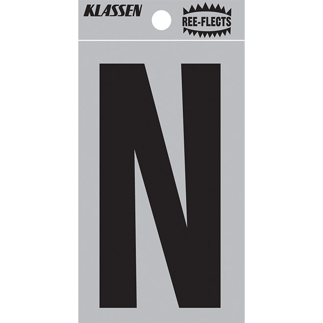 """Reflective Letter - N - 3"""" - Black"""