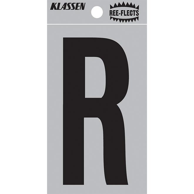 """Lettre réfléchissante, R, 3"""", noir"""